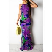 Lovely Casual Printed Purple Floor Length Dress