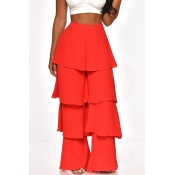 Lovely Trendy Layered Ruffle Design Red Pants
