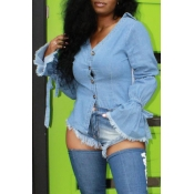 Lovely Chic Button Design Blue Blouse