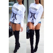 Lovely Casual Bandage Design White Sweater