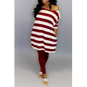 Lovely Casual Striped Red Blouse