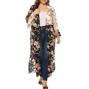 Lovely Casual Floral Printed Black Plus Size Trenc