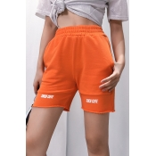 Lovely Sportswear Printed Patchwork Orange Shorts