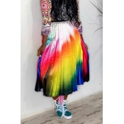 Lovely Casual Gradual Change Multicolor Ankle Leng