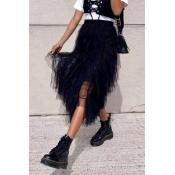 Lovely Trendy Asymmetrical Black Ankle Length Skir