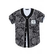 Lovely Chic V Neck Printed Black Shirt