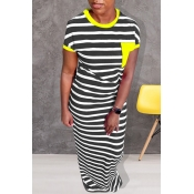 Lovely Casual Striped Yellow Floor Length Dress
