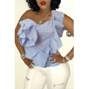 Lovely Trendy One Shoulder Flounce Design Baby Blu