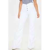 Lovely Casual High Waist Buttons Design White Jean