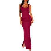 Lovely Chic U Neck Sleeveless Wine Red Ankle Lengt