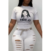 Lovely Trendy Portrait Printed White T-shirt