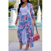 Lovely Casual Printed Baby Blue Two-piece Pants Se