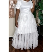Lovely Sweet Patchwork White Ankle Length Dress