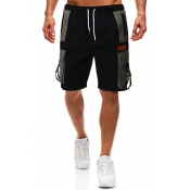 Lovely Casual Patchwork Black Shorts