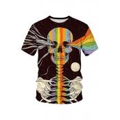 Lovely Trendy Skull Printed Black T-shirt
