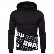 Lovely Casual Hooded Collar Printed Black Hoodies(