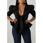 Lovely Trendy Flounce Design Bow-Tie Black Blouse