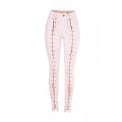 Lovely Trendy Bandage Design White Jeans
