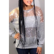 Lovely Casual Patchwork Grey Hoodies