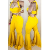 Lovely Trendy Sleeveless Yellow Flared Two-piece P