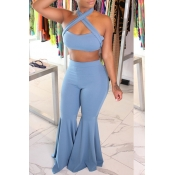 Lovely Trendy Sleeveless Blue Flared Two-piece Pan
