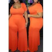 Lovely Casual Loose Orange Plus Size One-piece Jum
