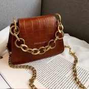 Lovely Vintage Chain Strap Brown PU Crossbody Bag