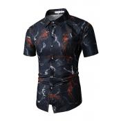 Lovely Casual Turndown Collar Printed Black Shirt
