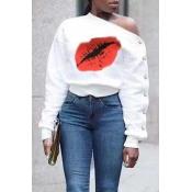 Lovely Casual Lip Printed White Sweatshirt Hoodies