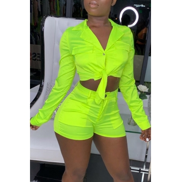 Lovely Casual V Neck Green Two-piece Shorts Set