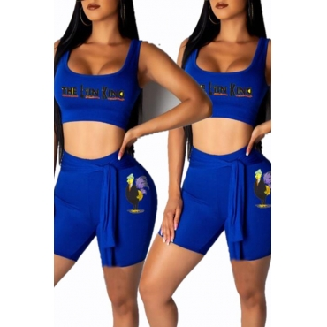 Lovely Casual U Neck Letter Printed Royalblue Two-piece Shorts Set