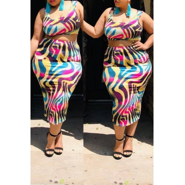 Lovely  Casual U Neck Printed Multicolor Plus Size Two-piece Skirt Set