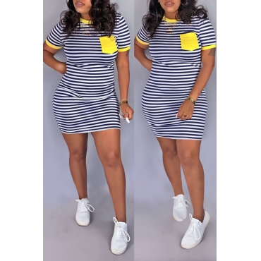 Lovely Casual O Neck Striped Patchwork Yellow Mini Dress