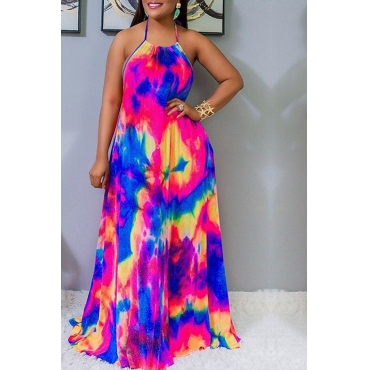 Lovely Stylish Halter Neck Tie-dye Multicolor Floor Length A Line Dress
