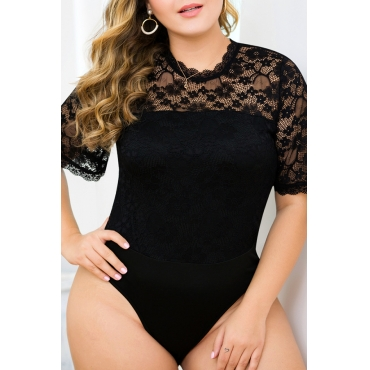 Lovely Sexy Lace Patchwork Black Plus Size Bodysuit