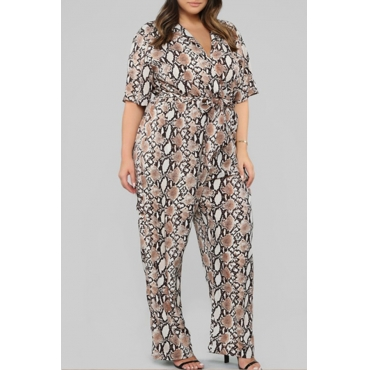 Lovely Casual V Neck Snakeskin Pattern Printed Plus Size One-piece Jumpsuit
