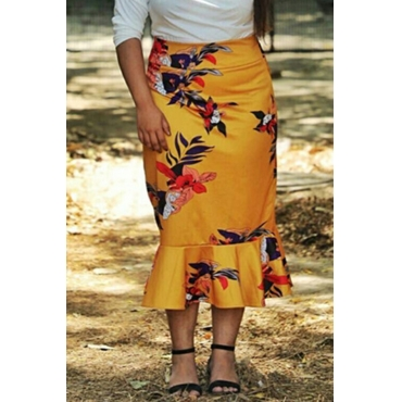 Lovely Stylish Printed Yellow Plus Size Skirt