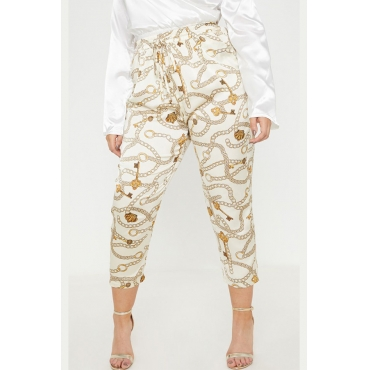 Lovely Stylish High Waist Printed White Plus Size Pants