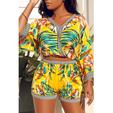 Lovely Bohemian V Neck Printed Yellow Two-piece Shorts Set