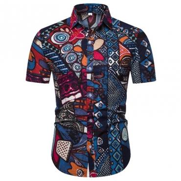 Lovely Bohemian Turndown Collar Printed Blue Shirt