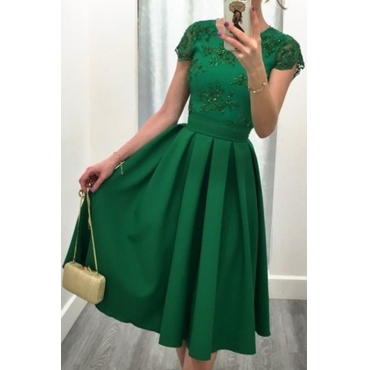 Lovely Elegant O Neck Backless Green Knee Length A Line Prom Dress