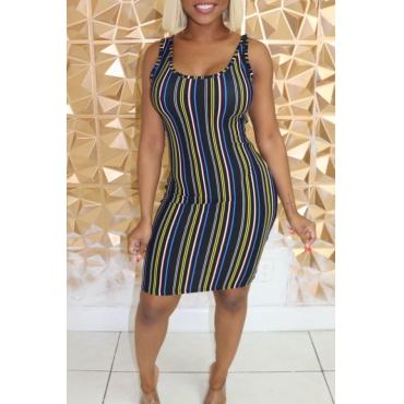 Lovely Casual Striped Dark Blue Knee Length Dress