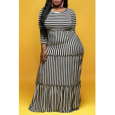 Lovely Casual Striped Black And White Floor Length Dress