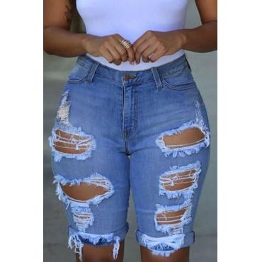 Lovely Trendy Broken Holes Baby Blue Shorts