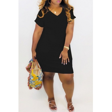 Lovely Casual V Neck Black Mini A Line Dress