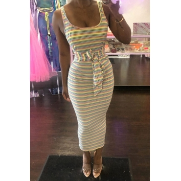Lovely Casual U Neck Striped Ankle Length Dress