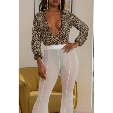 Lovely Sexy Deep V Neck Leopard Printed Bodysuit