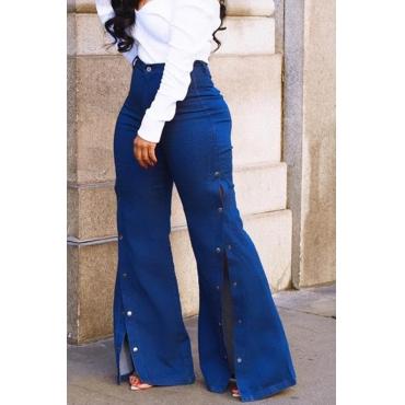 Lovely Stylish High Waist Side Split Blue Jeans