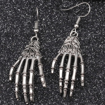 Lovely Casual Skeleton Hands Design White Earring