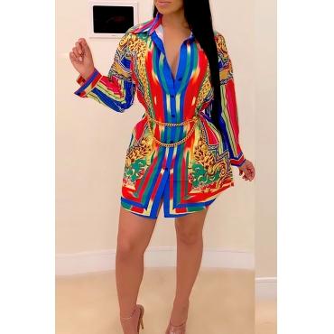 Lovely Polyester Casual Print Regular sleeve Turndown Collar Mini Shirt Dress Daily Dress